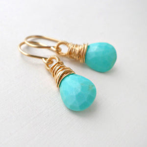 sleeping beauty turquoise and gold drop earrings - December birthstone