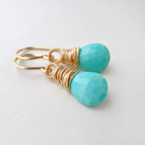 Turquoise drop earrings wire wrapped with gold