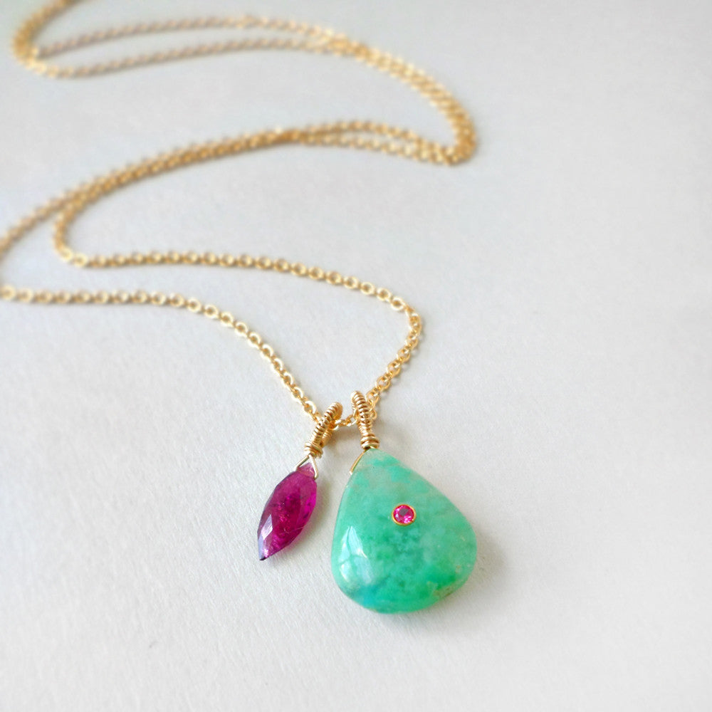 layer gemstone necklace with mint green chrysocolla and pink tourmaline