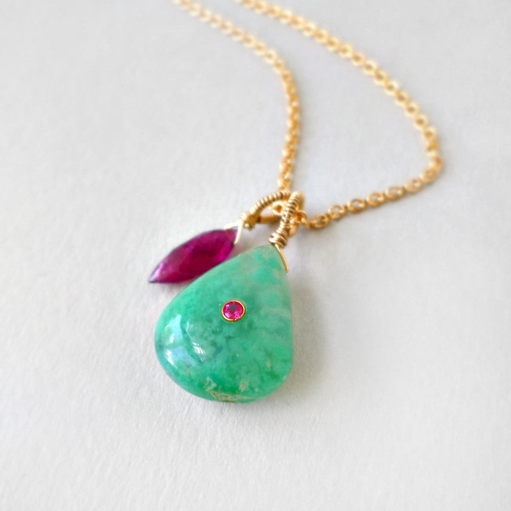 chrysocolla and tourmaline gemstone necklace in gold