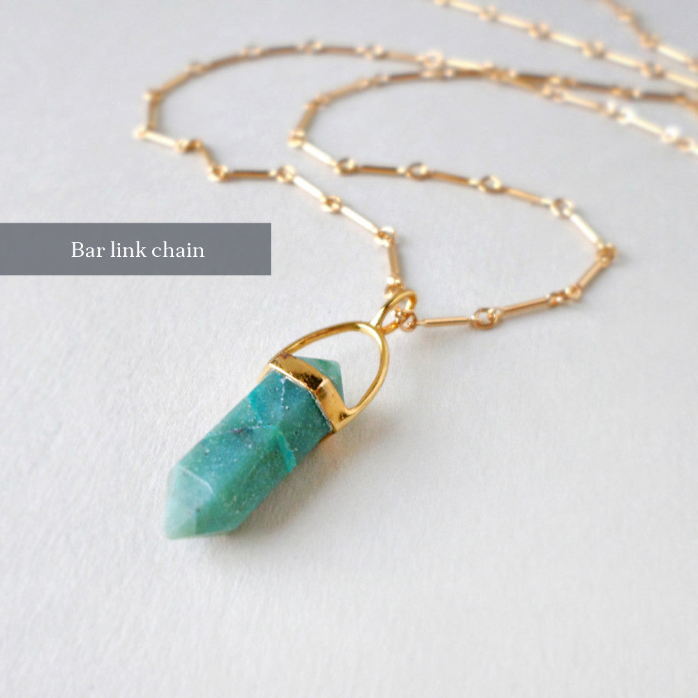 chrysocolla and gold long chain necklace