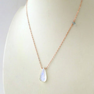rose gold and moonstone necklace
