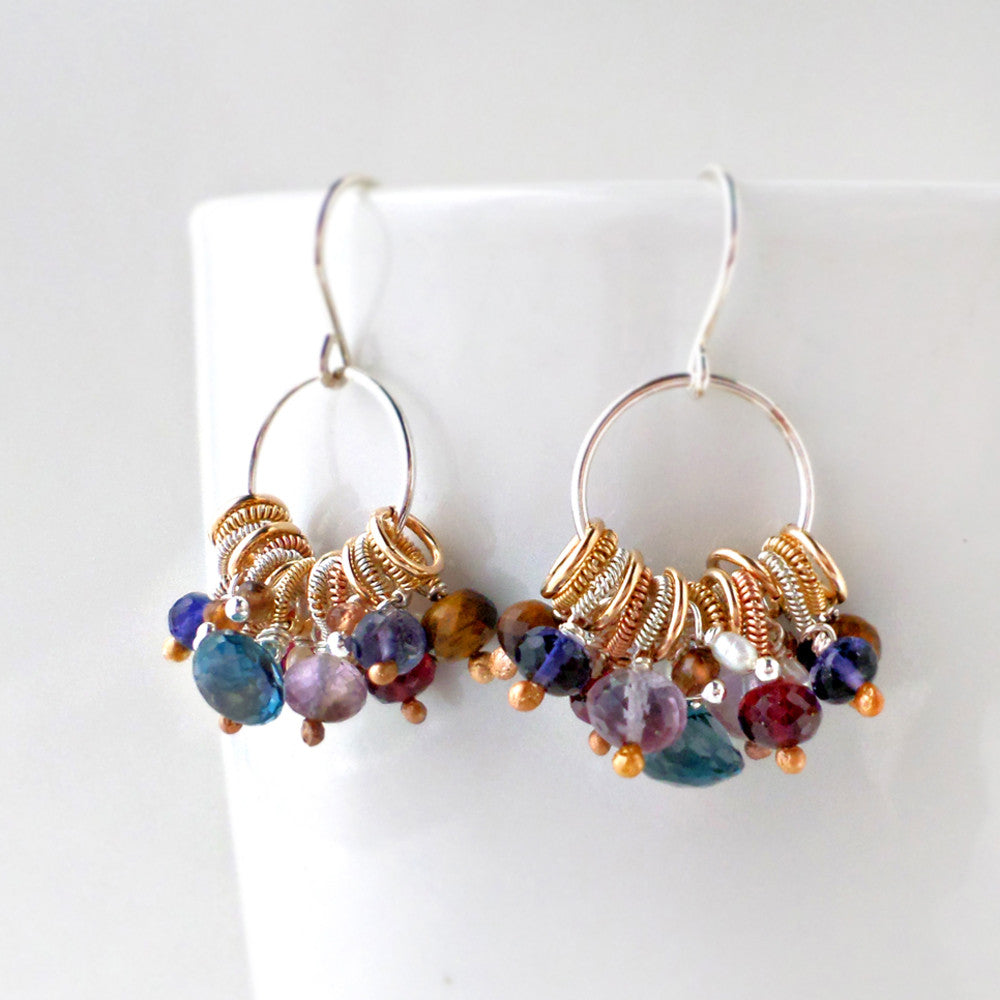 gypsy inspired hoop earrings with gemstones and mixed metals