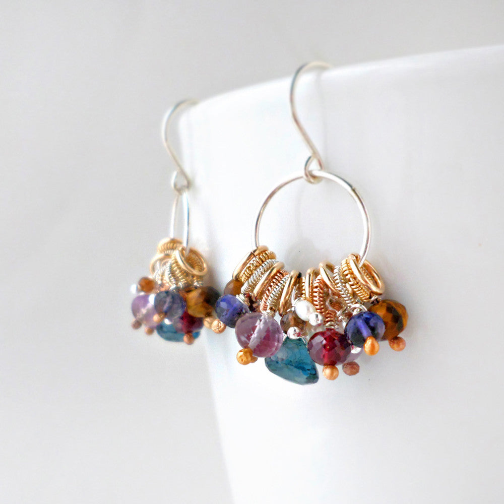 bohemian inspired hoop earrings with gemstone and mixed metals