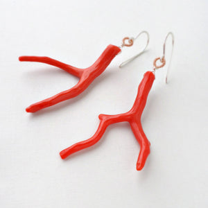 red coral branch earrings with sterling silver and gold