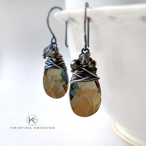 Olive green crystal drop earrings wire wrapped with silver