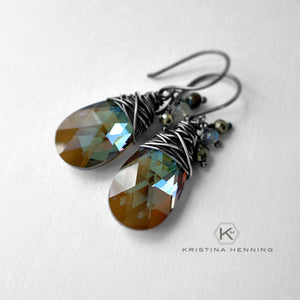 Olive crystal drop and oxidized silver earrings
