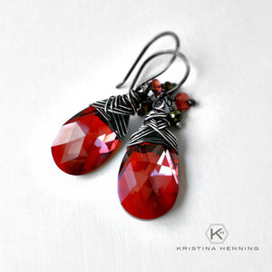 Red crystal and gemstone drop earrings wrapped with silver