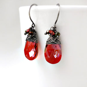 Red crystal drop earrings with garnet and pyrite