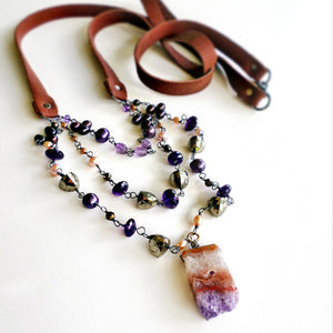 Amethyst stalactite necklace with pyrite, oxidized silver, leather