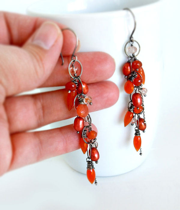 Silver and orange dangle earrings with sunstone, carnelian and freshwater pearl
