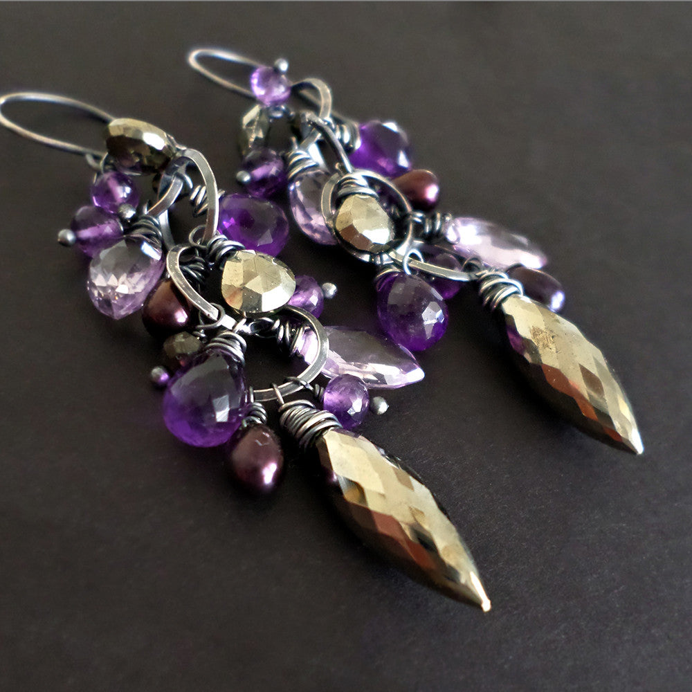 Purple amethyst and golden pyrite long dangle gemstone earrings