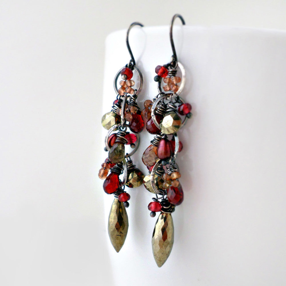 Long garnet and pyrite dangle earrings in sterling silver