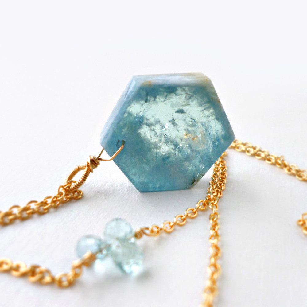 aquamarine crystal slice necklace with gold - March birthstone jewelry