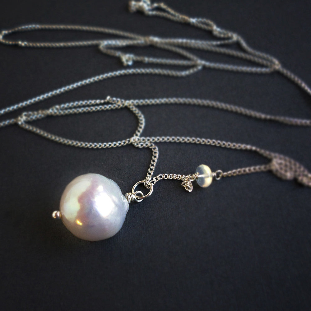 Large white pearl pendant necklace in sterling silver - June birthstone jewelry