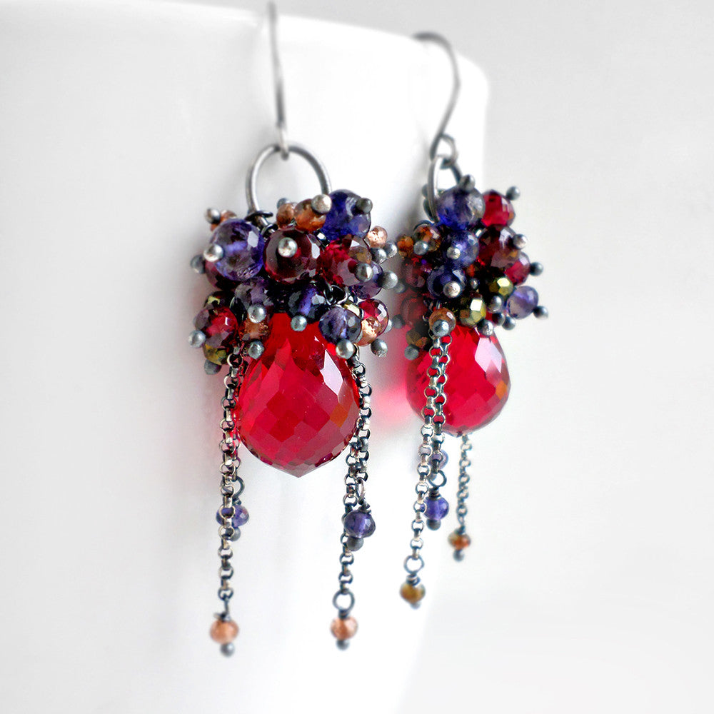 Red and blue gemstone drop earrings