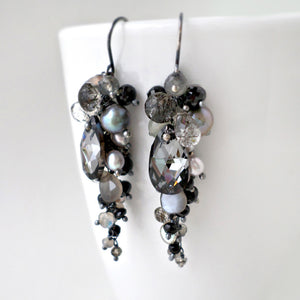 black and gray long gemstone earrings in silver