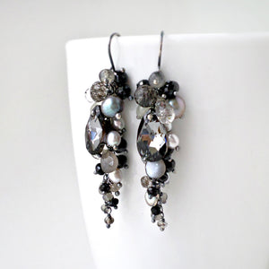 long black dangle earrings with gemstones and sterling silver