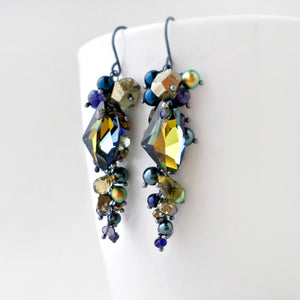 olive green and navy blue gemstone long dangle earrings