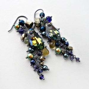 Navy blue and olive green gemstone earrings