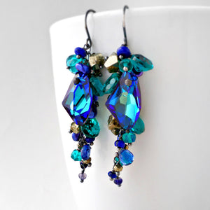 long blue dangle earrings with lapis, iolite, quartz, swarovski crystal and silver