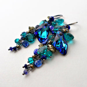 Turquoise blue and cobalt blue long earrings