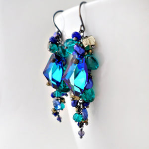 Bright blue gemstone earrings