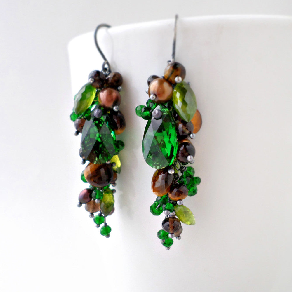 Woodland earrings in green and brown gemstones with sterling silver