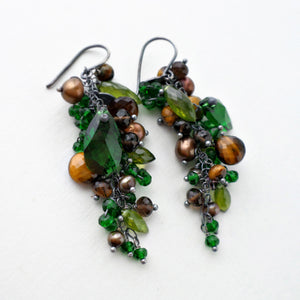 emerald green and brown long gemstone dangle earrings