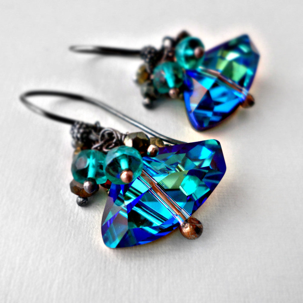 Blue Swarovski crystal and gemstone earrings with pyrite, quartz and sterling silver