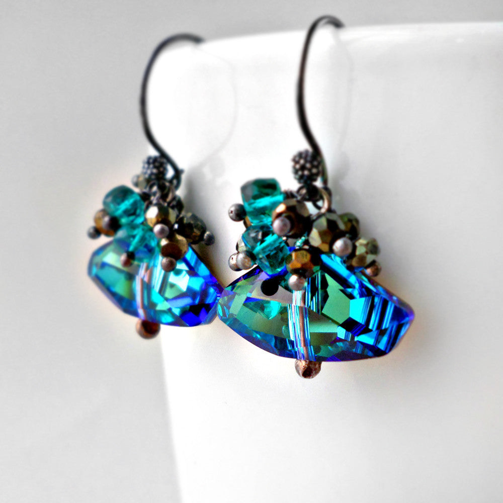 Turquoise blue crystal and gemstone earrings in silver