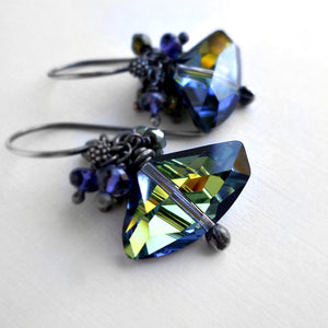 Navy blue and green crystal and gemstone drop earrings