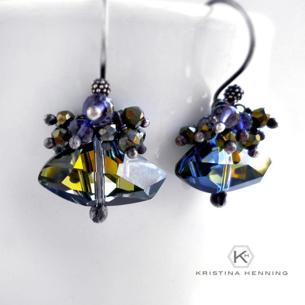 Navy blue crystal drop earrings in silver
