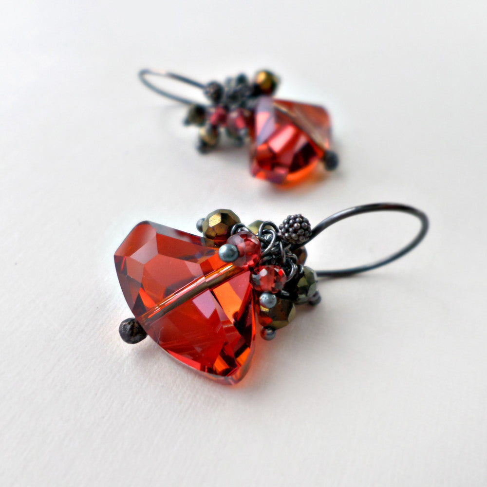 red crystal geometric earrings with garnet, pyrite and silver