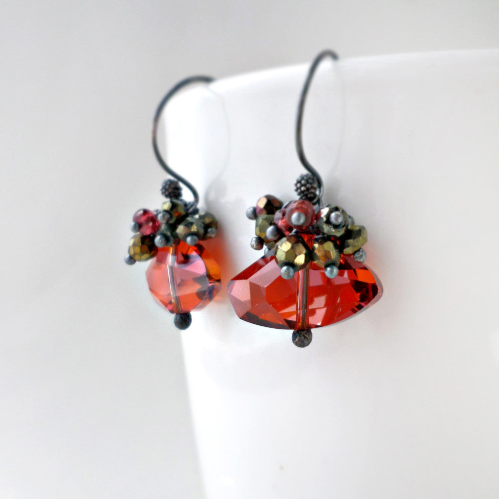 red crystal and gemstone drop earrings in sterling silver