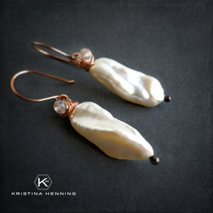 White pearl and rose gold dangle earrings - June birthstone jewelry