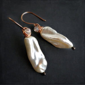 Long white pearl drop earrings wire wrapped with rose gold and quartz