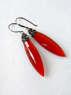 Sterling silver drop earrings with orange carnelian gemstone