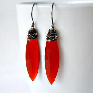 Burnt orange carnelian long gemstone drop earrings in oxidized sterling silver
