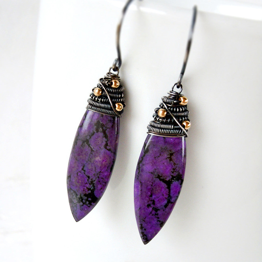 Sugilite gemstone earrings with oxidized sterling silver