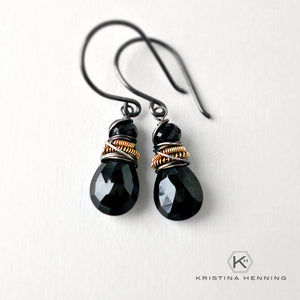 Black spinel gemstone drop earrings in silver and gold