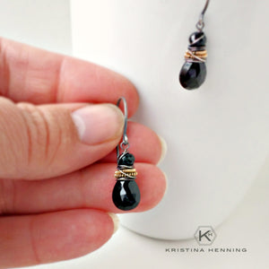 Black gemstone wire wrapped earrings
