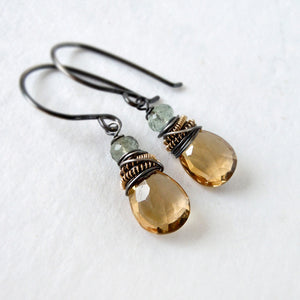 Champagne Citrine Drop Earrings with Green Moss Aquamarine Gemstone