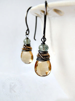 Champagne Citrine and Green Moss Aquamarine Hadley Earrings