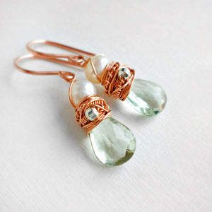 Green amethyst and rose gold dangle earrings