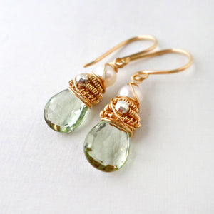 green amethyst and pearl drop earrings wire wrapped with gold