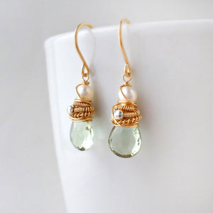 prasiolite and pearl earrings in gold