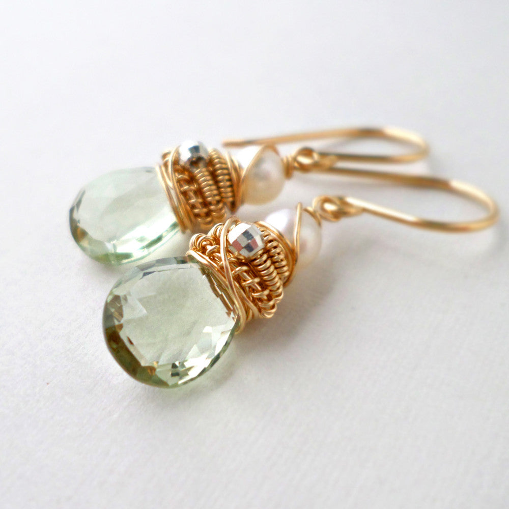 light green amethyst and white freshwater pearl earrings in gold