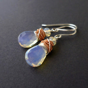 Opal drop earrings with sterling silver and rose gold