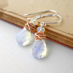 drop earrings with opal, silver and rose gold
